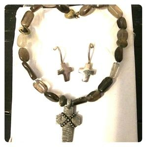 Jewelry - Silver Cross and Stone 2 piece Jewelry Set